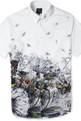 McQ by Alexander McQueen Printed Short Sleeved Cotton Shirt - Lyst