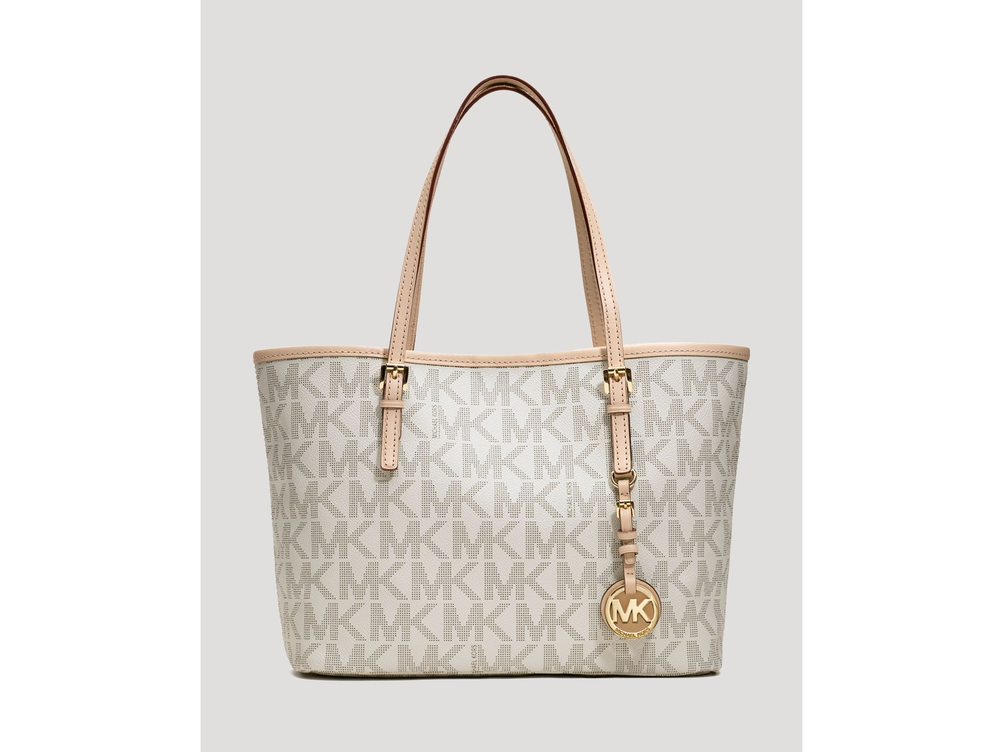 Bolsa Michael Kors Tote Vanilla : Michael kors tote jet set travel small in white