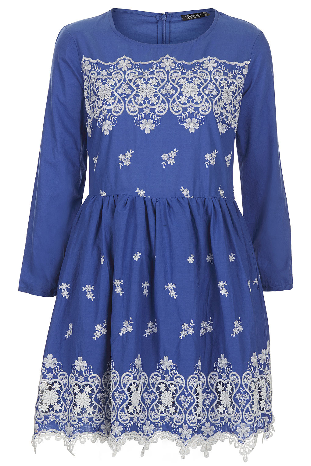 Lyst topshop embroidered hem flippy dress in blue