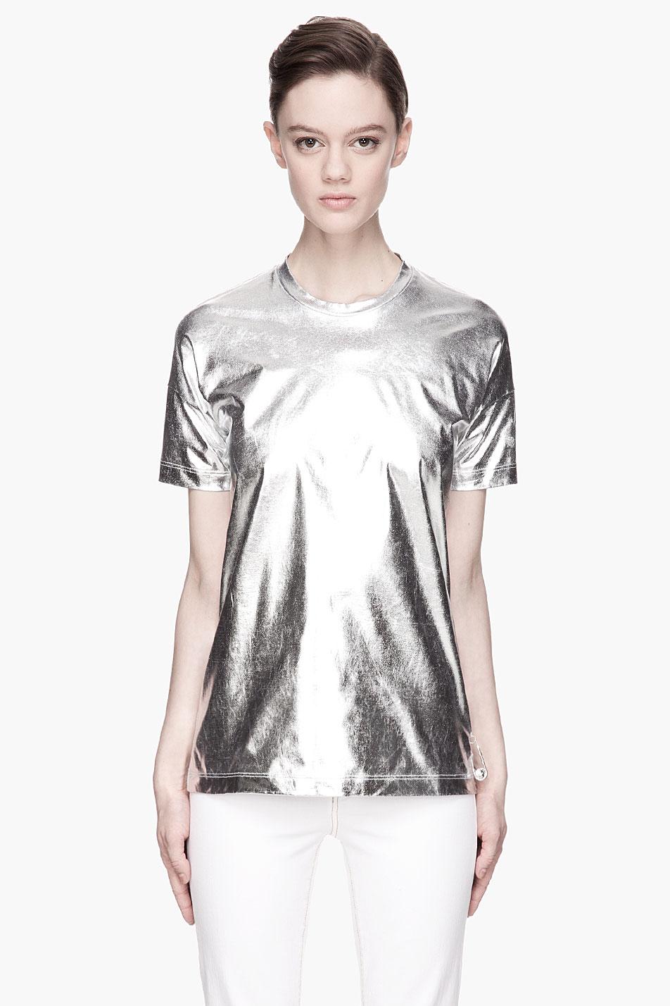 Lyst Versus Metallic Silver Jersey T Shirt In Metallic