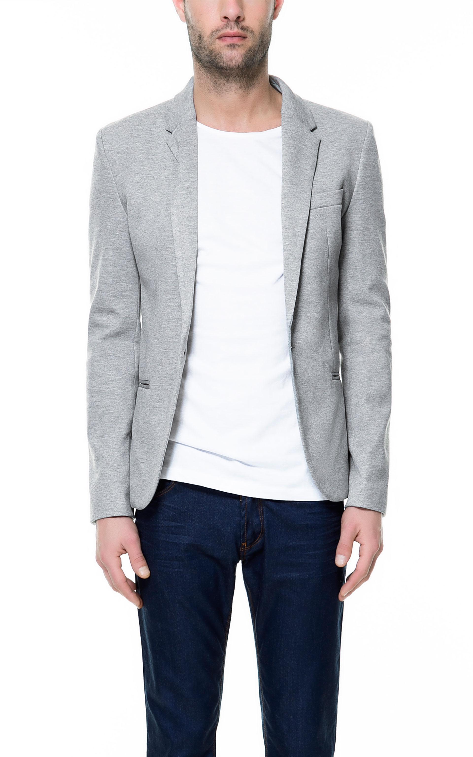 Zara Basic Blazer In Gray For Men Lyst