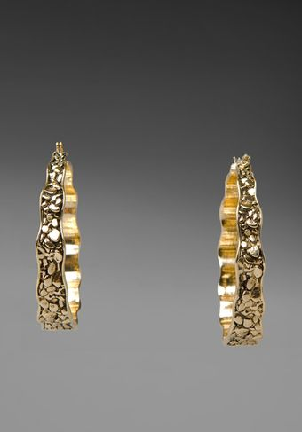 Belle Noel Plated Nugget Hoop Earrings in Gold - Lyst