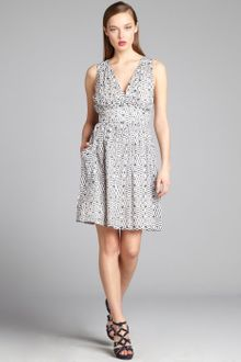 French Connection Navy and Cream Printed Cotton Vneck Sleeveless Dress - Lyst