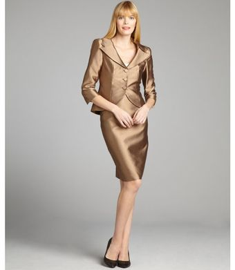 Kay Unger Bronze Silkcotton Twill Threebutton Skirt Suit - Lyst