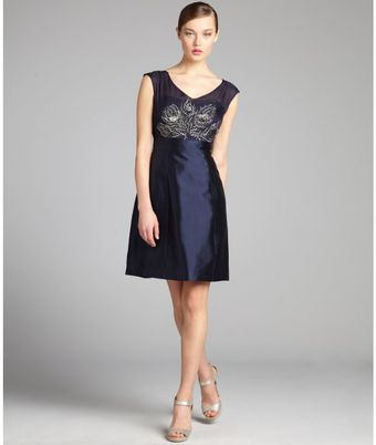 Kay Unger Navy Silk Blend Beaded Cocktail Dress - Lyst