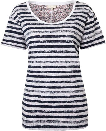 Linea Weekend Stripe Floral Contrast T-Shirt - Lyst
