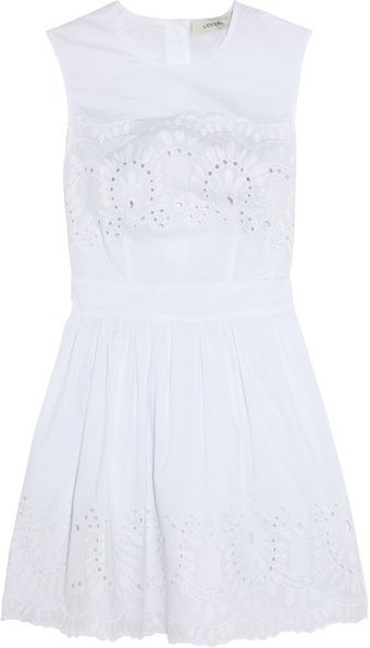 Lover Broderie Anglaise Cotton Mini Dress - Lyst