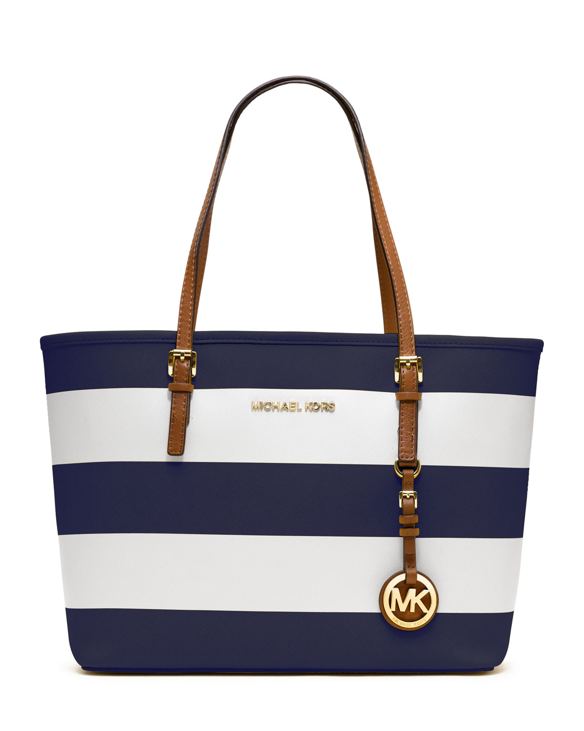 michael michael kors small jet set striped travel tote in blue navy white lyst. Black Bedroom Furniture Sets. Home Design Ideas