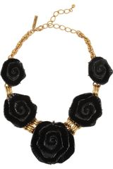 Oscar de la Renta Goldplated Resin Rose Necklace - Lyst