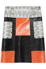 Proenza Schouler Patchwork Perforated Leather and Snake Aline Skirt - Lyst