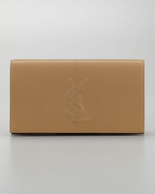 76f389bd5d35 Saint Laurent Belle Du Jour Large Leather Clutch Bag in Natural - Lyst