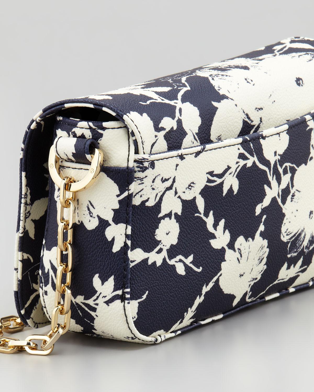 Tory Burch Robinson Floralprint Mini Crossbody Bag In Blue (navy Floral) | Lyst
