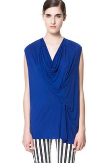Zara Draped T-shirt - Lyst