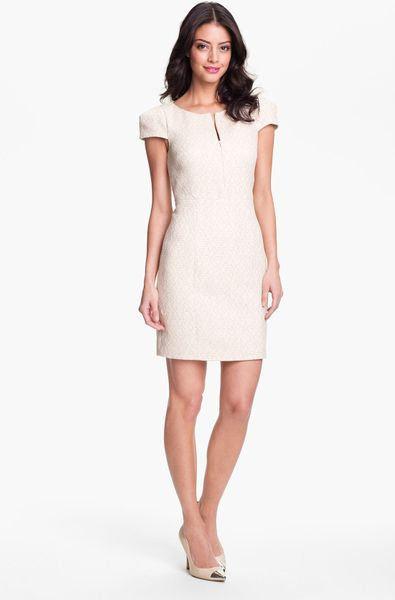 collective Cap Sleeve Tweed Sheath Dress in Beige (color list having ...