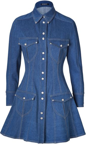 Balmain Vestido Blue Jeans - Lyst