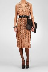 Bottega Veneta Poussin Nude Nero Light Silk Studded Embroidered Flower Dress - Lyst