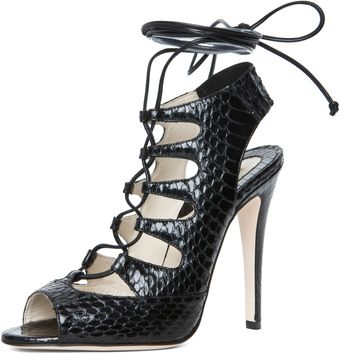 Brian Atwood Tie Me Up Lace Up Sandal in Black Snake - Lyst