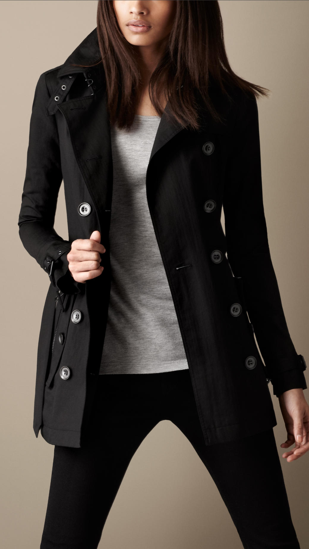 Burberry brit Short Technical Cotton Trench Coat in Black | Lyst