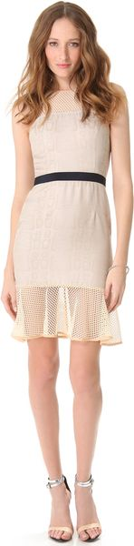 Charlotte Ronson Net Paneled Flounce Dress - Lyst