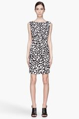 Diane Von Furstenberg Black and Grey Lips Print New Della Belted Dress - Lyst