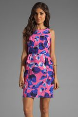 Milly Ivy Print On Silk Cotton Faille Peplum Sheath Dress - Lyst