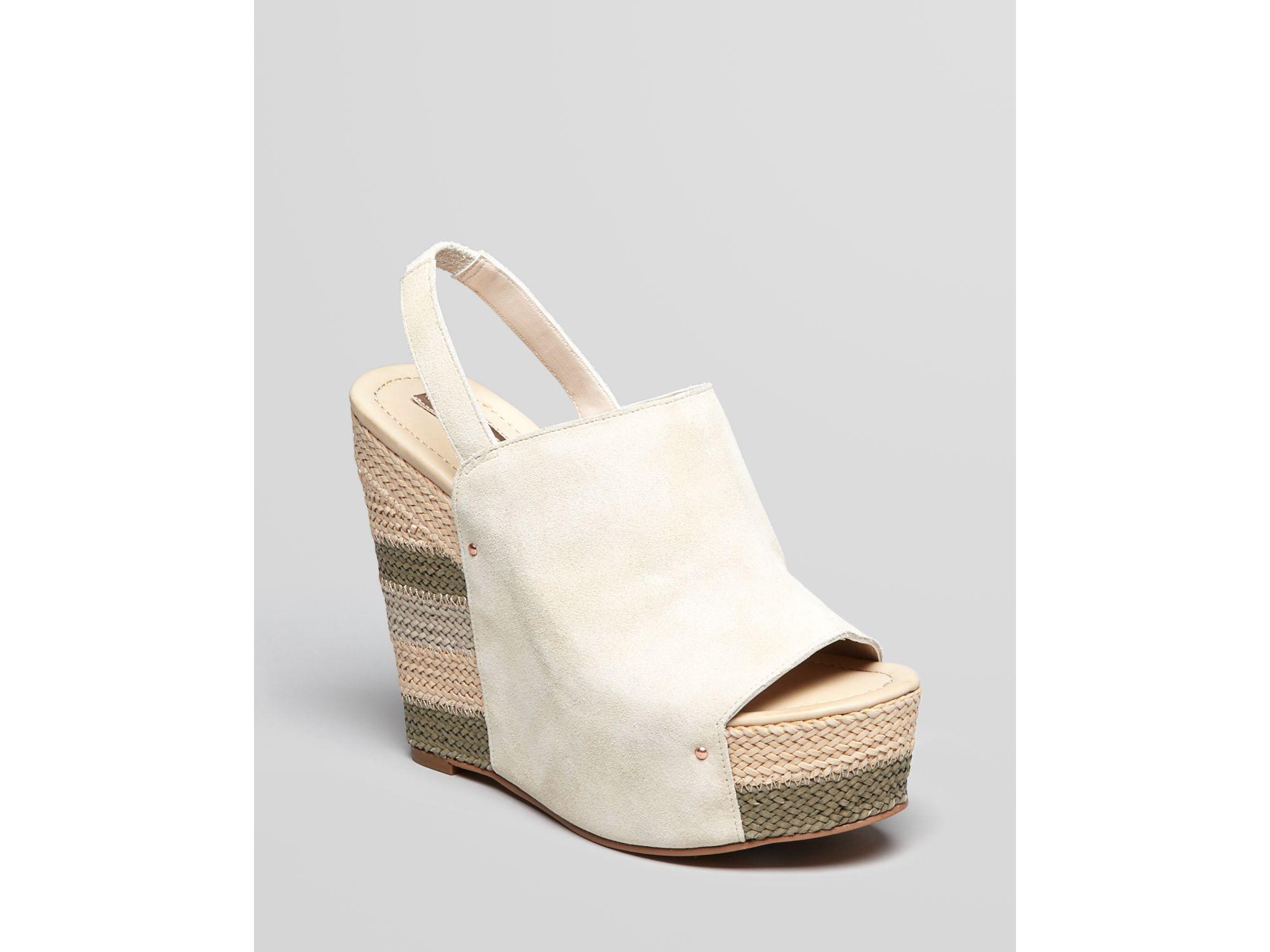 Rosegold Open Toe Platform Wedge Sandals Lars Slingback In