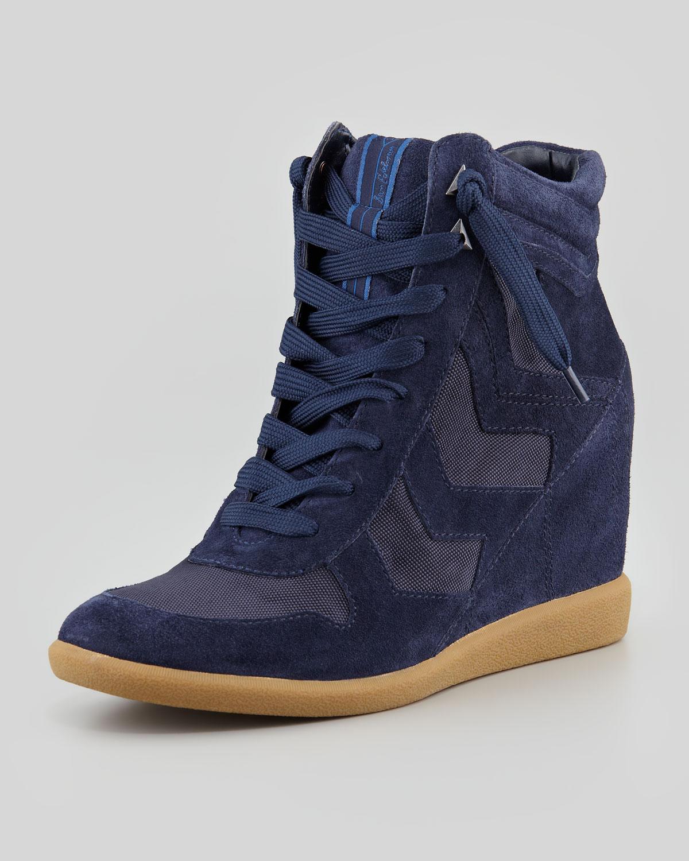 Sam Edelman Bennett Velour Hidden Wedge Sneaker In Blue
