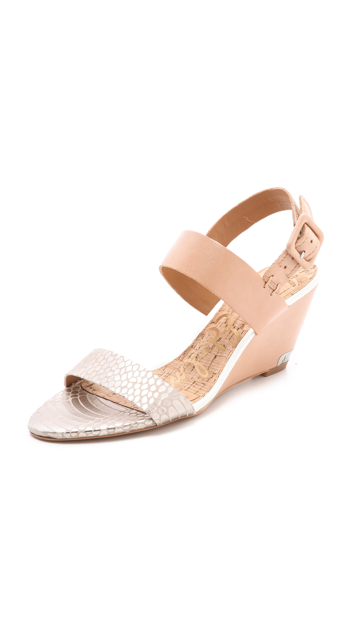 sam edelman sutton wedge sandals in beige lyst