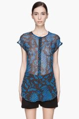Surface To Air Indigo and Black Leaf Print Massa Blouse - Lyst