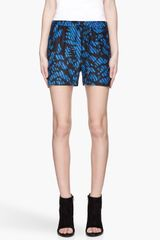 Surface To Air Indigo Blue Leaves Print Cross Silk Shorts - Lyst