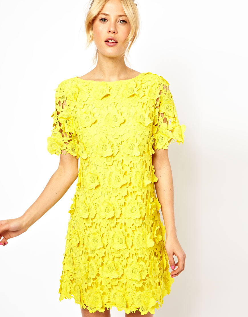 Lyst asos shift dress with 3d flower lace in yellow gallery mightylinksfo