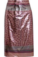 Burberry Prorsum Printed Lamé Pencil Skirt - Lyst