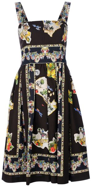 Dolce & Gabbana Printed Sleeveless Dress - Lyst