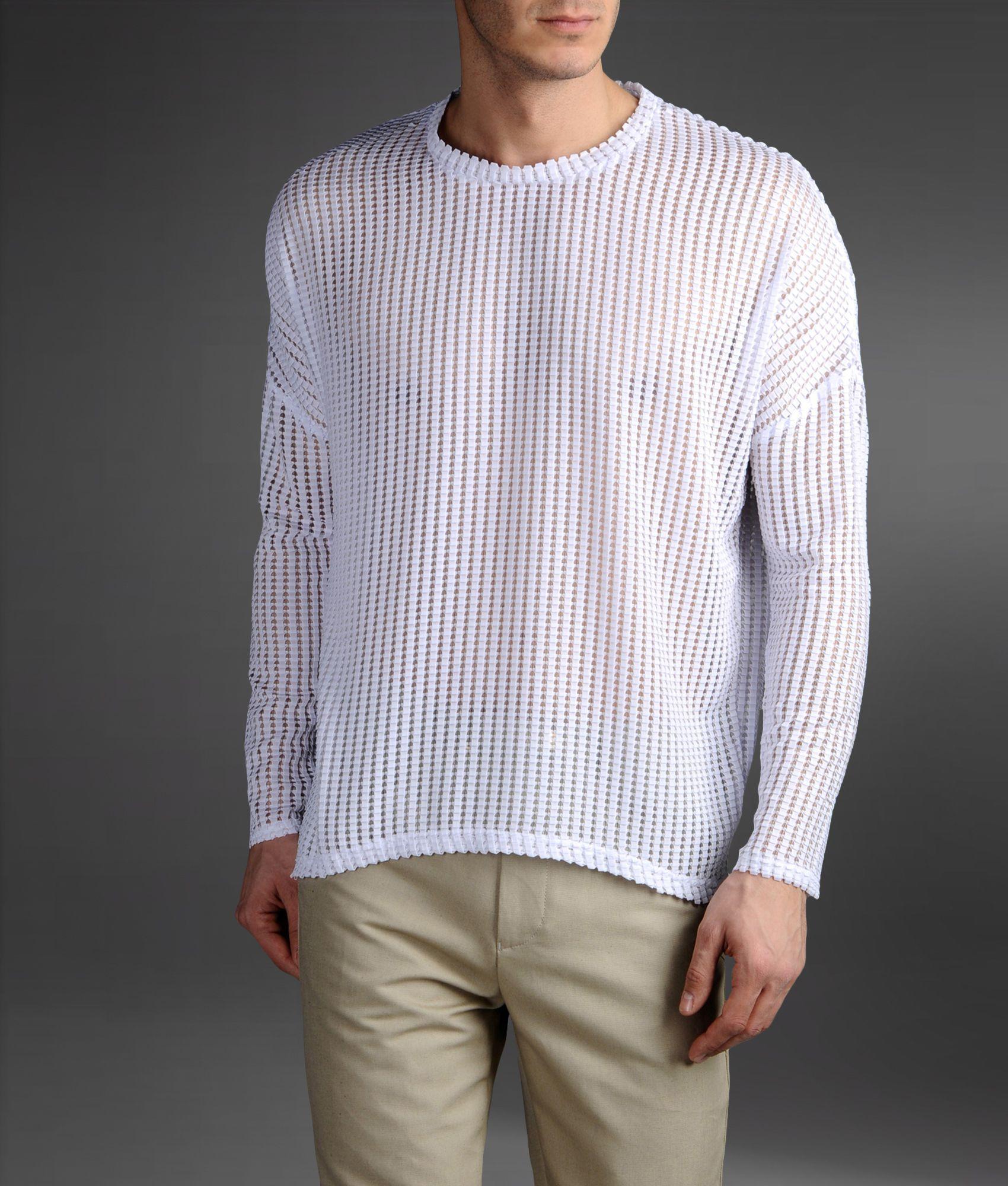 emporio armani origami effect mesh sweater in white for. Black Bedroom Furniture Sets. Home Design Ideas