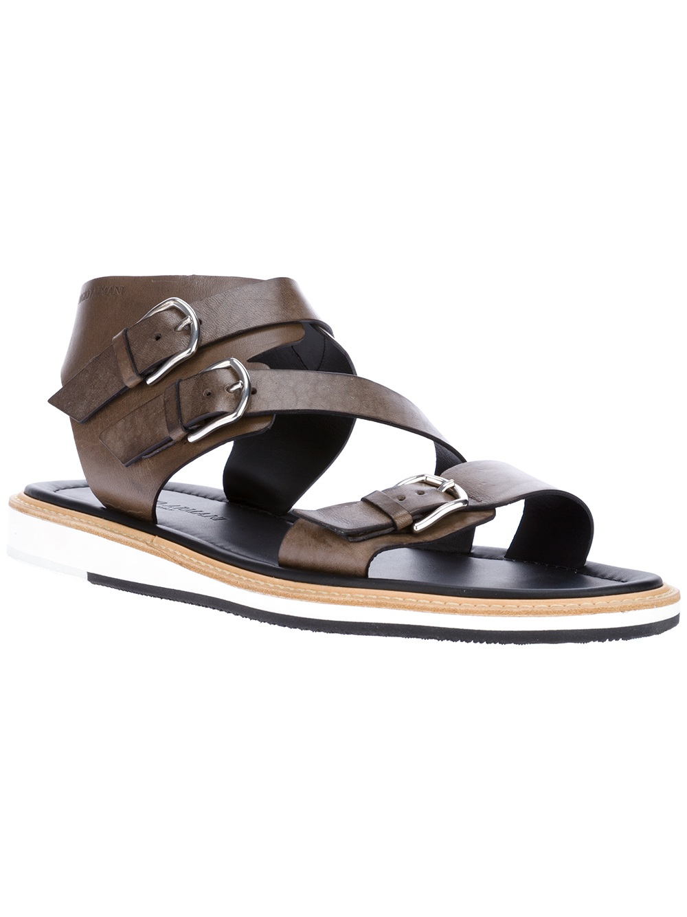4419cd1cdbd6ef Lyst - Giorgio Armani Buckled Sandals in Brown for Men