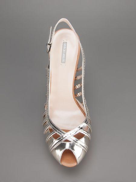 Giorgio Armani Strappy Platform Sandal In Silver Lyst