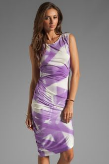 Halston Heritage Asymmetrical Hem Crewneck Dress in Hyacinth - Lyst