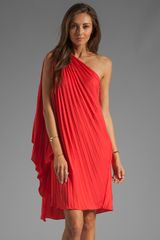 Halston Heritage One Shoulder Pleated Dress in Poppy - Lyst