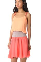 Halston Heritage Tie Shoulder Colorblock Dress in Orange - Lyst