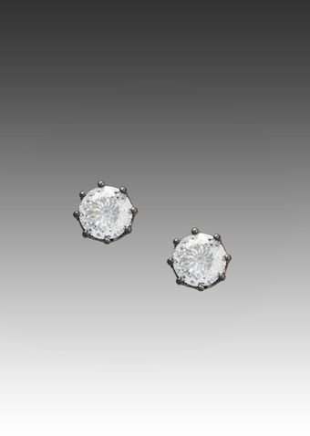 Juicy Couture Dirty Diamond Oversized Stud Earrings in Hematite - Lyst
