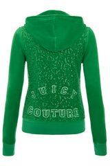 Juicy Couture Velour Logo Hooded Sweatshirt in Green - Lyst
