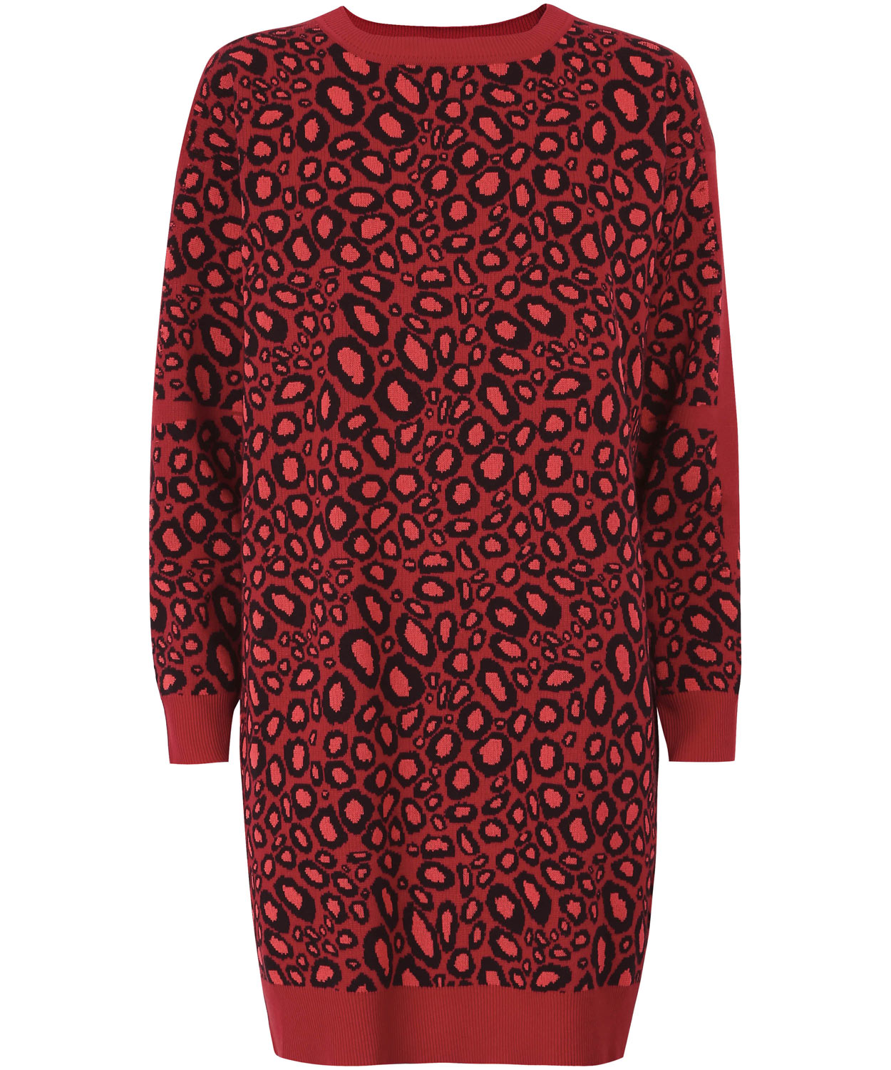 Kenzo Red Leopard Print Knitted Dress in Red - Lyst