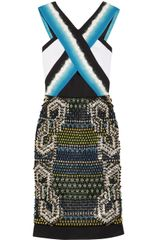 Peter Pilotto Emelie Embellished Mesh Crepe and Neoprene Dress - Lyst