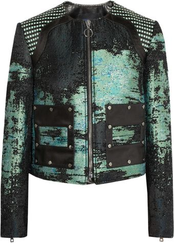 Proenza Schouler Leather Trimmed Bouclé Tweed Jacket - Lyst