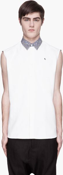 Raf Simons  Contrast Collar Logo Embroidered Sleeveless Shirt - Lyst