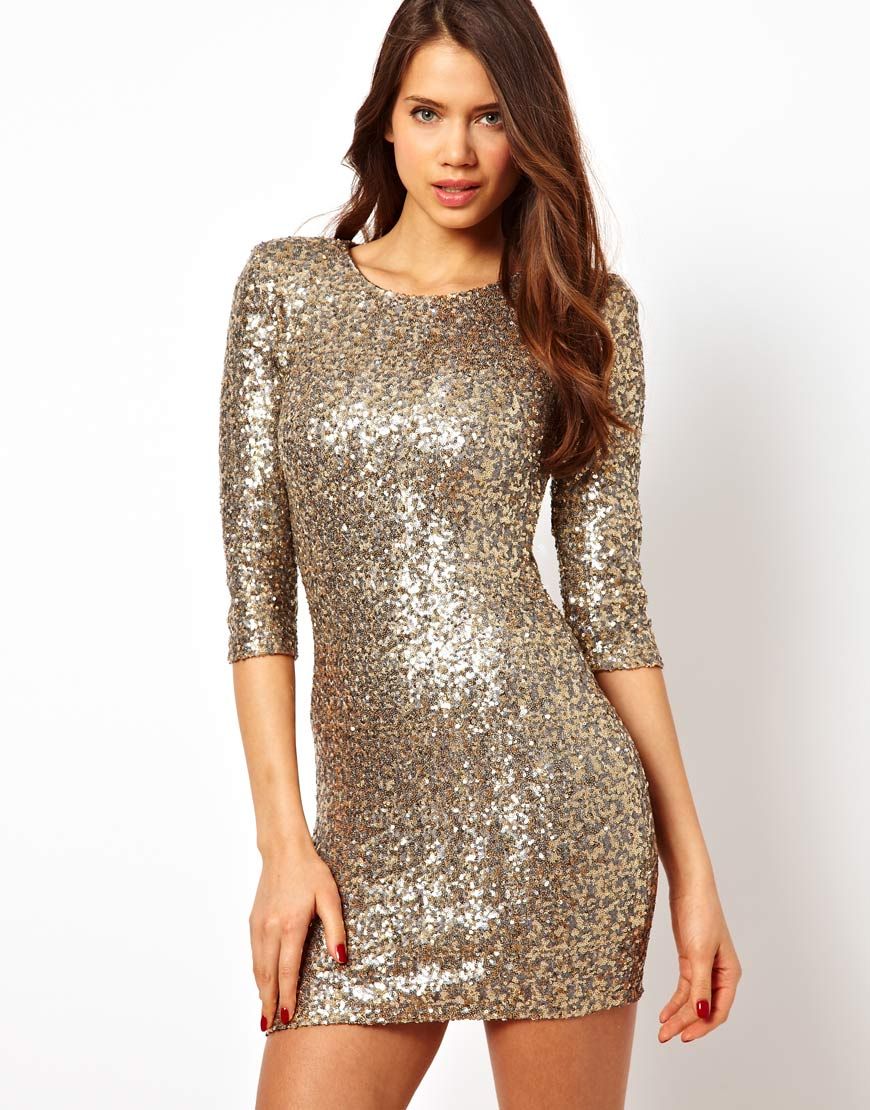 Tfnc london Sequin Bodycon Dress in Metallic | Lyst