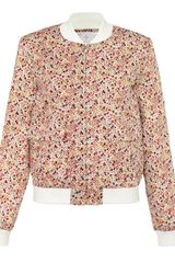 Thakoon Addition Pink Floral Pocketed Bomber Jacket - Lyst
