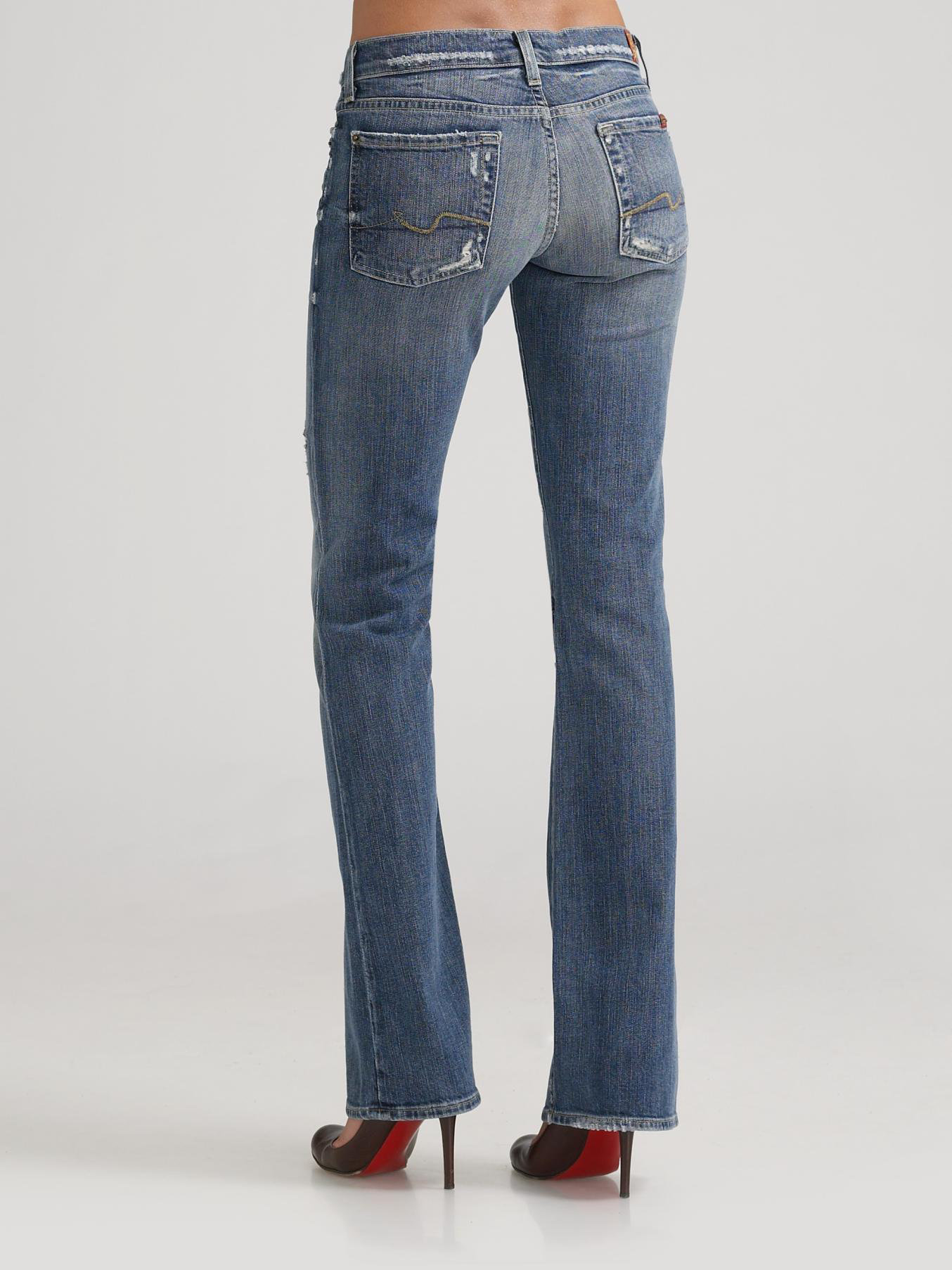 7 for all mankind Distressed Bootcut Jeans in Blue | Lyst