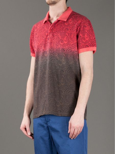 Etro Paisley Print Polo Shirt In Red For Men Lyst