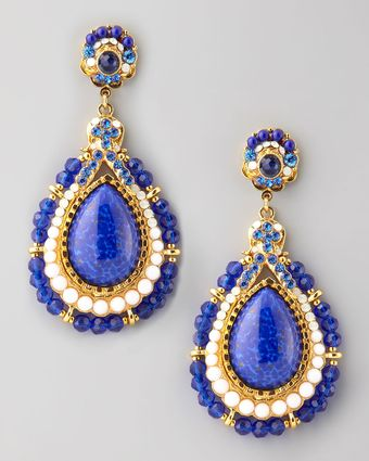 Jose & Maria Barrera Beaded Teardrop Clip Earrings - Lyst